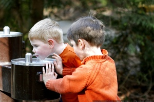 kids at water fountain